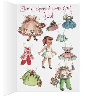 Cartão de papel do Feliz Natal das bonecas do