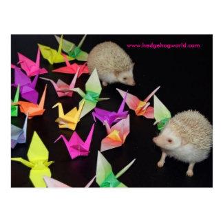 cartão de papel do ouriço do guindaste