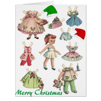Cartão de papel retro e jogos da boneca do vintage
