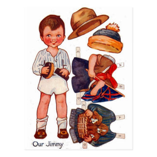 Cartão de Paperdoll Little Boy Jimmy do vintage