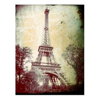 Cartão de Paris do estilo do vintage, a torre