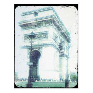 Cartão de Paris do estilo do vintage, o Arco do