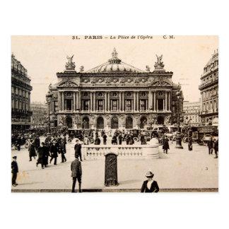 Cartão de Paris do vintage, o teatro da ópera