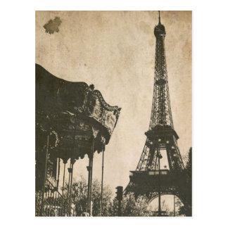 Cartão de Paris do vintage, torre Eiffel