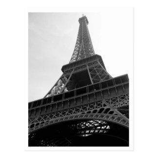 Cartão de Paris France b/w da torre Eiffel