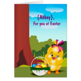 Cartão de páscoa adorável do pintinho do bebê