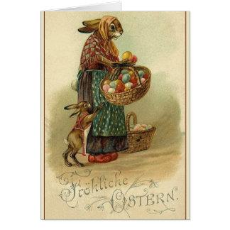 Cartão Cartão de páscoa alemão do vintage.  Fröhliche