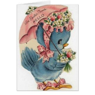 Cartão de páscoa azul do pássaro do vintage
