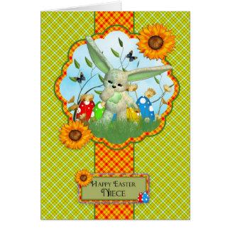 Cartão de páscoa bonito da sobrinha com coelho e o