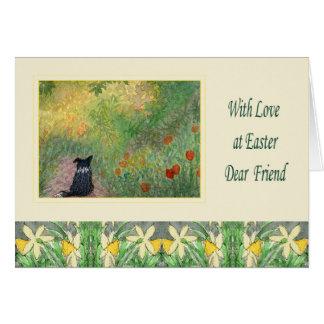 Cartão de páscoa - cão de border collie em um