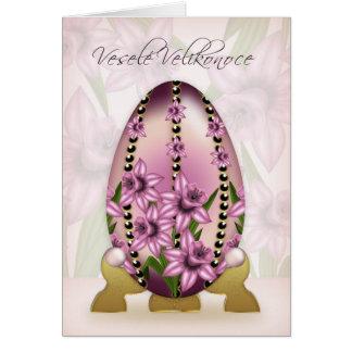 Cartão de páscoa checo com ovo e os Daffodils