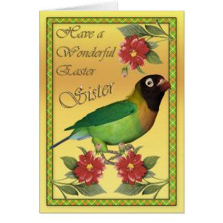 Cartão de páscoa com a irmã preta do Lovebird de
