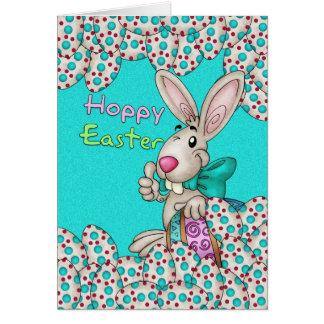 Cartão de páscoa com coelhinho da Páscoa e ovos