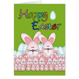 Cartão de páscoa com coelhinhos da Páscoa e ovos,