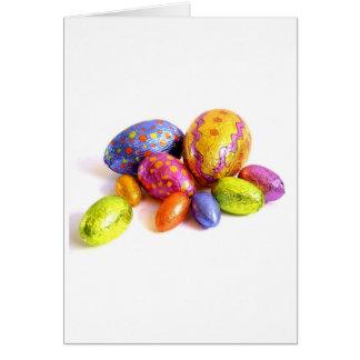 Cartão de páscoa com ovos de doces
