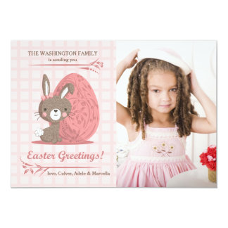 Cartão de páscoa cor-de-rosa da foto da perfeição convite 12.7 x 17.78cm