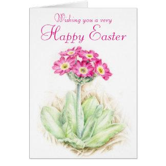 Cartão Cartão de páscoa cor-de-rosa floral da prímula
