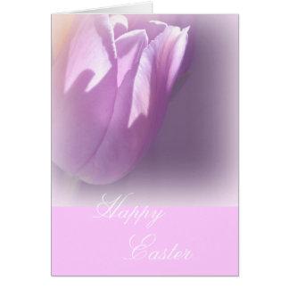 Cartão de páscoa cor-de-rosa subtil da tulipa