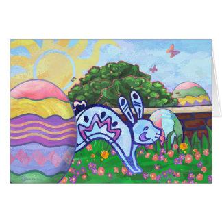Cartão de páscoa da caça do ovo do coelhinho da