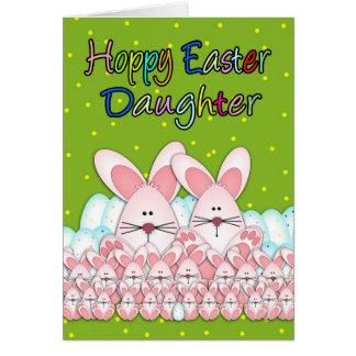 Cartão de páscoa da filha com coelhinhos da Páscoa