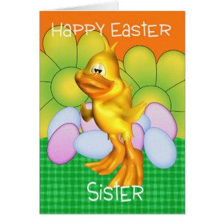 Cartão de páscoa da irmã com ovos do pintinho e fl