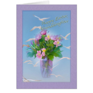 Cartão de páscoa da neta com flores e pássaros