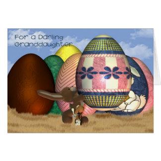 Cartão de páscoa da neta do coelhinho da Páscoa e