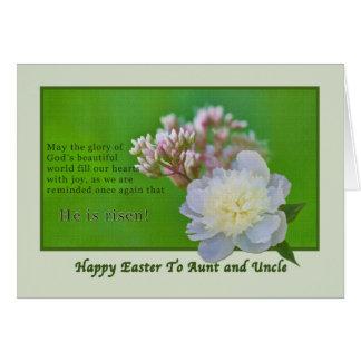 Cartão de páscoa da tia e do tio com flores