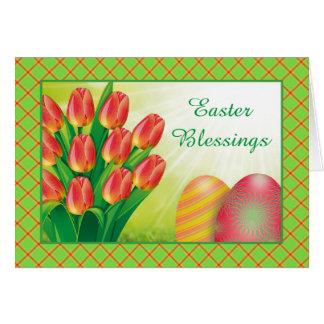 Cartão de páscoa das tulipas e dos ovos