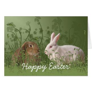 Cartão de páscoa de dois coelhos