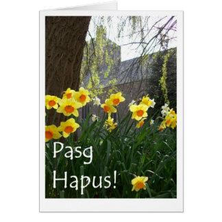 Cartão de páscoa de Galês com Daffodils e igreja