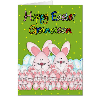 Cartão de páscoa do neto com coelhinhos da Páscoa