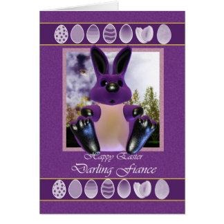 Cartão de páscoa do noivo, com coelhinho da Páscoa