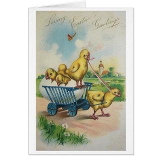 Cartão de páscoa do pintinho da páscoa do vintage