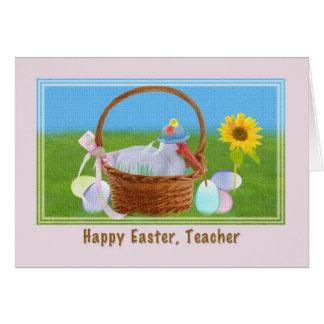 Cartão de páscoa do professor com íbis e cesta