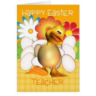 Cartão de páscoa do professor com ovos do pintinho