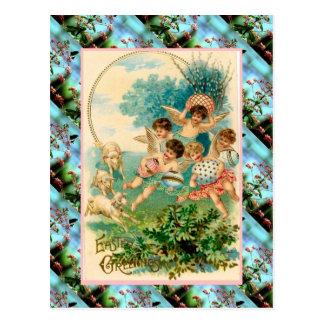 Cartão de páscoa do vintage da réplica, querubins