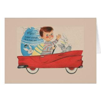 Cartão de páscoa do vintage para o menino fino