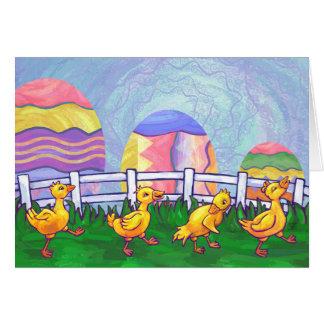 Cartão de páscoa dos patos em seguido