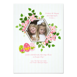 Cartão de páscoa floral da foto do hexágono convite 12.7 x 17.78cm