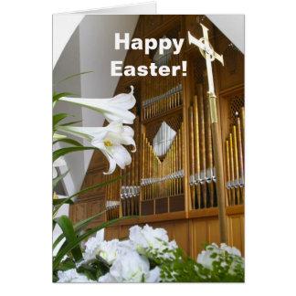 Cartão de páscoa - lírios e órgão