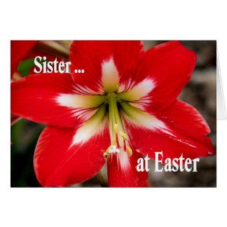 Cartão de páscoa para a irmã com lírio vermelho