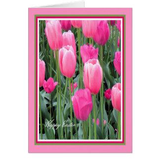 Cartão de páscoa para tulipas do rosa quente da