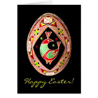 Cartão de páscoa pintado ucraniano do ovo de Pysan