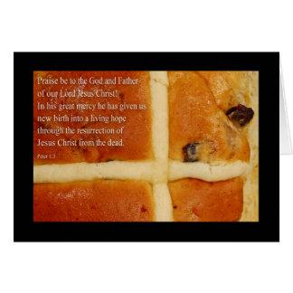 Cartão de páscoa religioso, com o bolo transversal