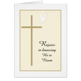 Cartão de páscoa religioso cristão -- Cruz & pomba