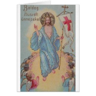 Cartão de páscoa religioso húngaro do vintage