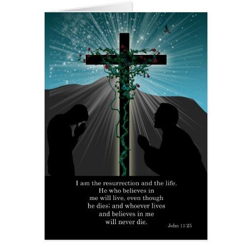 Cartão de páscoa religioso - Praying e cruz