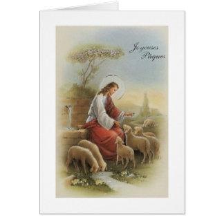 Cartão de páscoa religioso retro de Joyeuses Pâque