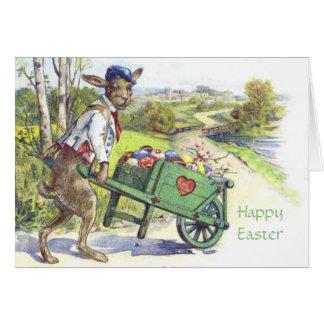 Cartão de páscoa vestido vintage do coelho da